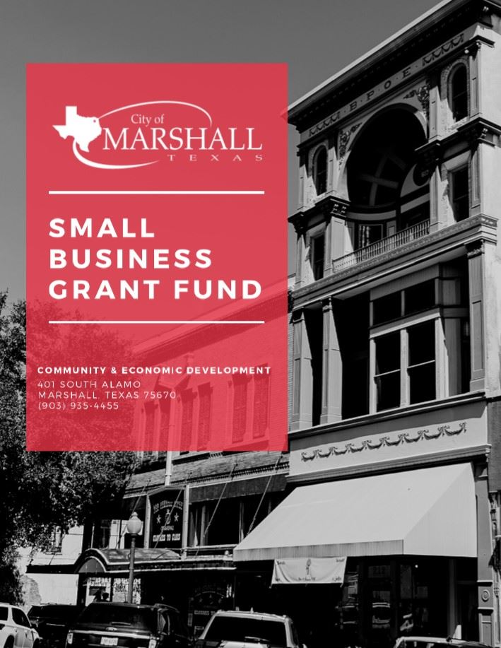 Cover page of the Small Business Grant