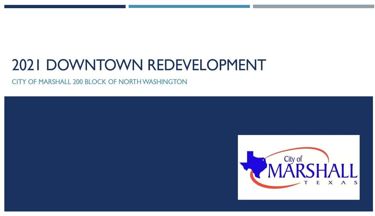 Logo for the City of Marshall Texas and banner for downtown revitalization.