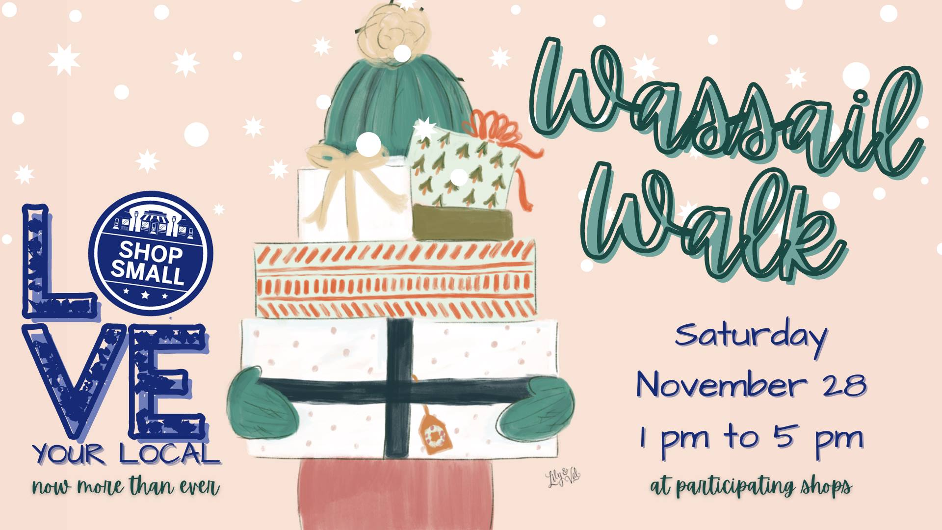 Invitation to 2020 Small Business Saturday and Wassail Walk in Marshall, Texas