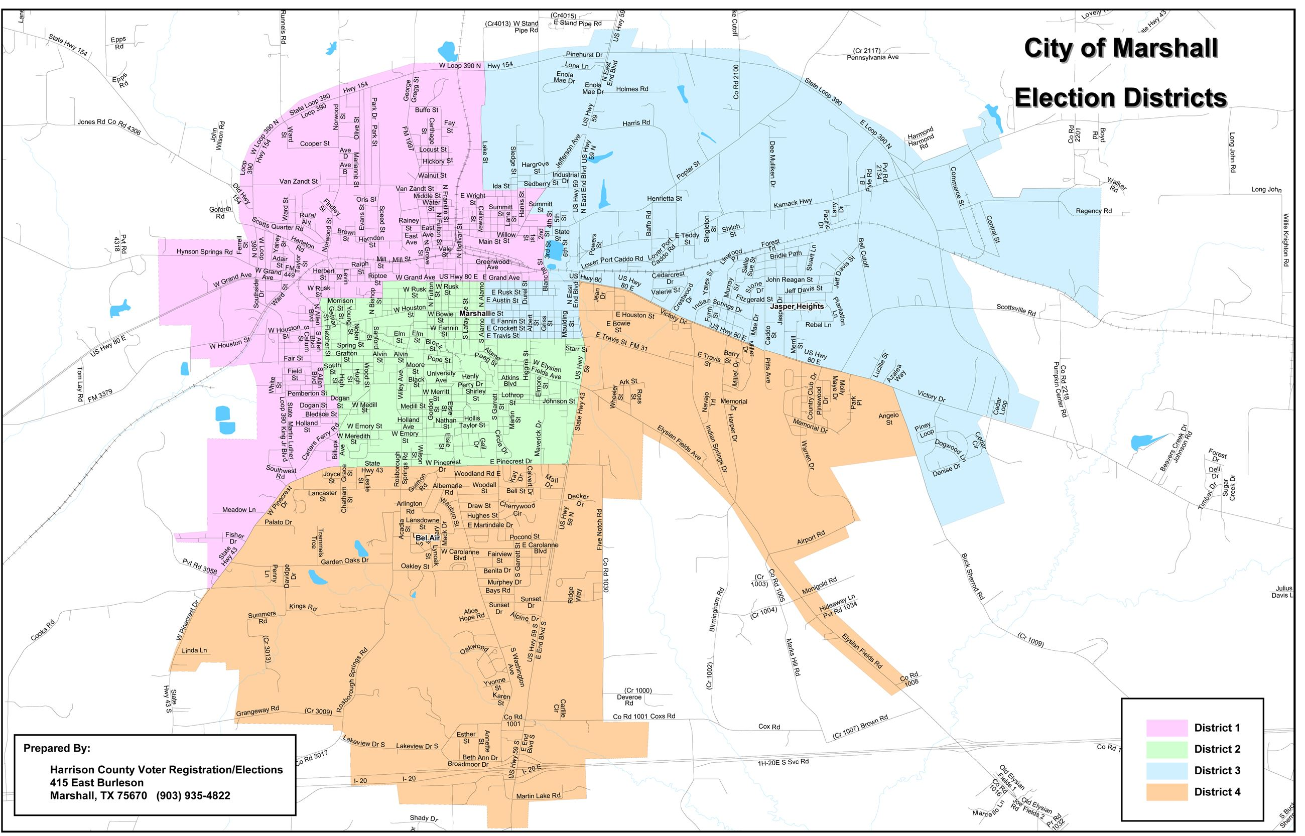 View a map detailing City of Marshall Election Districts 1 through 4 (PDF) Opens in new window