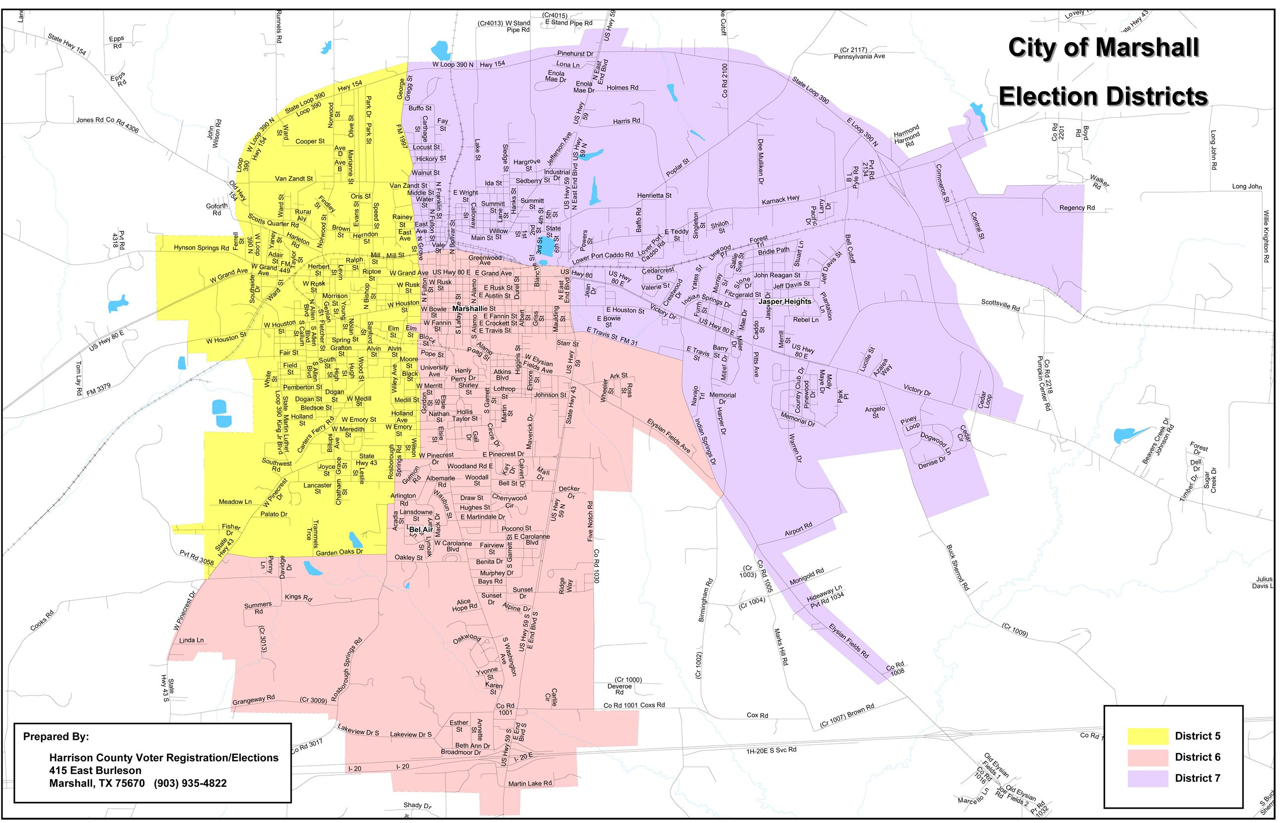 Access map detailing City of Marshall Election Districts 5 through 7 (PDF) Opens in new window